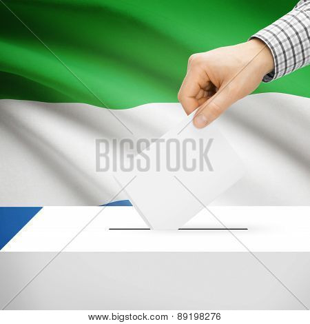 Voting Concept - Ballot Box With National Flag On Background - Sierra Leone