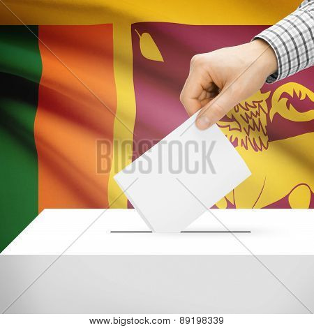 Voting Concept - Ballot Box With National Flag On Background - Sri Lanka