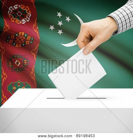 Voting Concept - Ballot Box With National Flag On Background - Turkmenistan