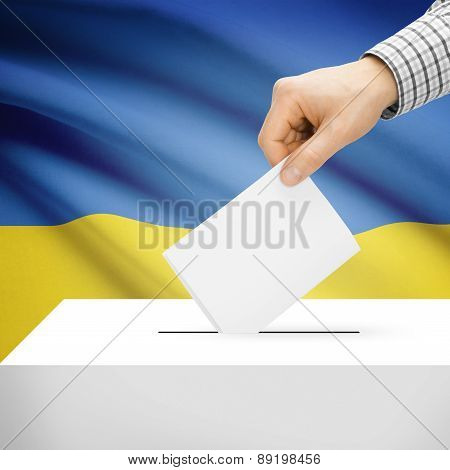 Voting Concept - Ballot Box With National Flag On Background - Ukraine