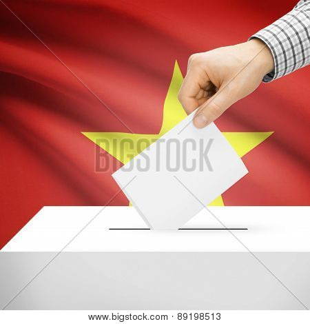 Voting Concept - Ballot Box With National Flag On Background - Vietnam