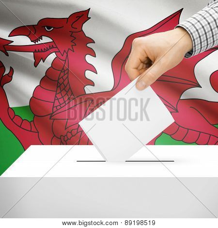 Voting Concept - Ballot Box With National Flag On Background - Wales