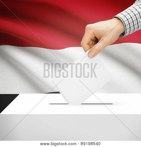 Voting Concept - Ballot Box With National Flag On Background - Yemen