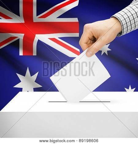 Voting Concept - Ballot Box With National Flag On Background - Australia