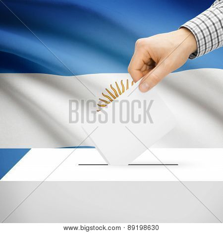 Voting Concept - Ballot Box With National Flag On Background - Argentina