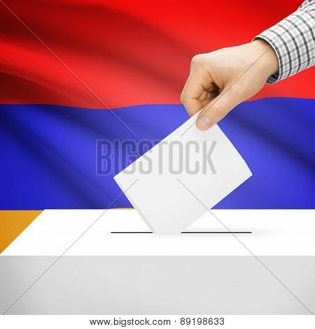 Voting Concept - Ballot Box With National Flag On Background - Armenia