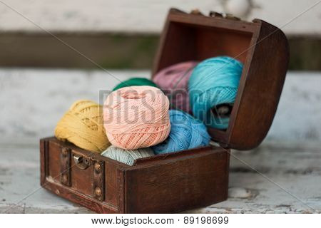 cotton yarn in a wooden box