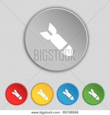 Missile,rocket Weapon Icon Sign. Symbol On Five Flat Buttons. Vector