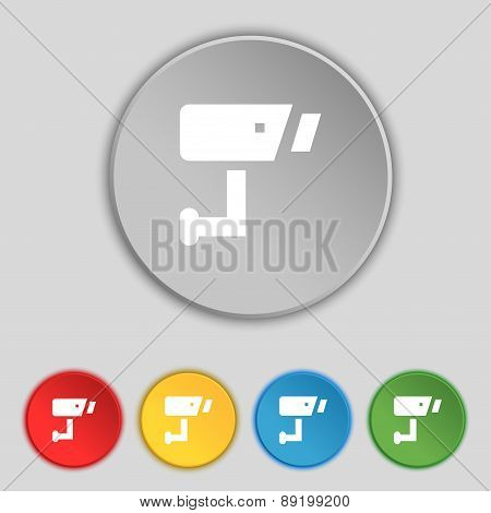 Surveillance Camera Icon Sign. Symbol On Five Flat Buttons. Vector