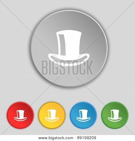 Cylinder Hat Icon Sign. Symbol On Five Flat Buttons. Vector