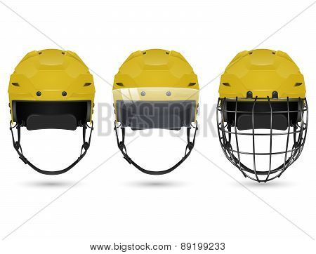 Yellow hockey helmet in three varieties