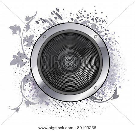 Abstract Musical Sound Loudspeaker Grunge Floral Design.