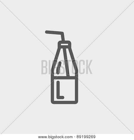 Bottle of milk with straw thin line icon