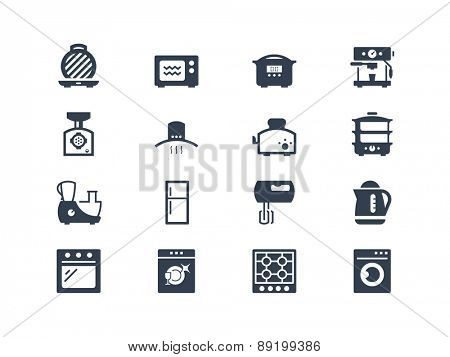 Kitchen electric appliances icons set