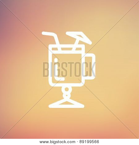 Cold ice tea with straw thin line icon