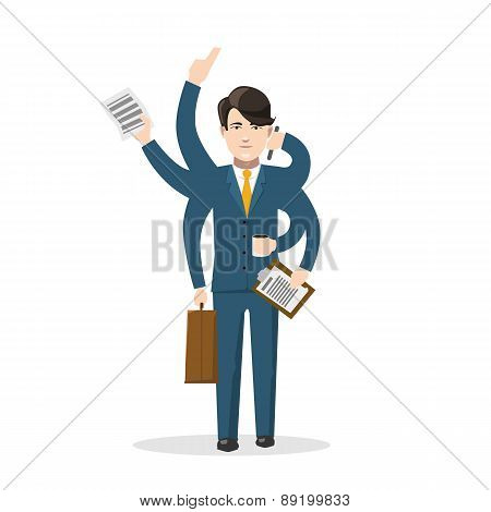 Businessman with many hands, isolated concept illustration