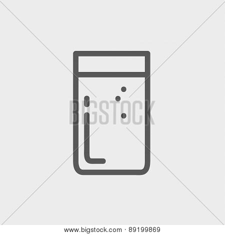 Glass of soda thin line icon