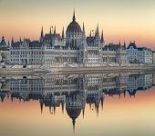 foto of hungarian  - View of hungarian Parliament building at twilight in Budapest - JPG
