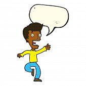 pic of terrifying  - cartoon terrified man with speech bubble - JPG