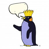 stock photo of emperor  - cartoon emperor penguin waving with speech bubble - JPG