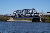 picture of illinois  - Two trains crossing a railroad bridge over the Illinois and Michigan Canal  - JPG