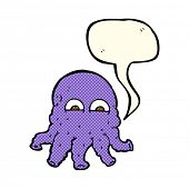 stock photo of squid  - cartoon alien squid face with speech bubble - JPG