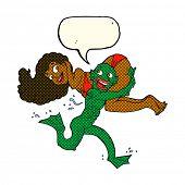 stock photo of swamps  - cartoon swamp monster carrying girl in bikini with speech bubble - JPG