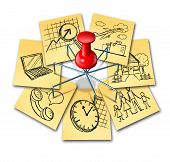 stock photo of multitasking  - Multitasking concept and multipurpose perform symbol icon as a group of office notes with different life responsibilities as family and work obligations connected by a multipronged thumb tack pin - JPG