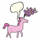 picture of unicorn  - cartoon magical unicorn with speech bubble - JPG