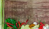 picture of raw materials  - raw material of spicy soup on the wood table - JPG