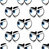 image of googly-eyes  - Cartoon big blue eyes seamless pattern with worried frown on white background for comics design - JPG