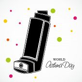 pic of asthma  - illustration for World Asthma Day in white background - JPG