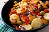 picture of lenten  - Baked potato with vegetables in a frying pan - JPG