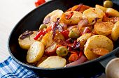 pic of lenten  - Baked potato with vegetables in a frying pan - JPG