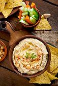 stock photo of pita  - Healthy homemade hummus with vegetables - JPG