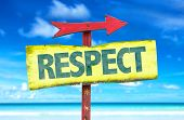 stock photo of respect  - Respect sign with beach background - JPG