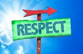 stock photo of respect  - Respect sign with sky background - JPG