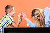 pic of wrestling  - Family children and motherhood concept - JPG