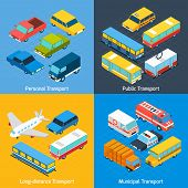 foto of long distance  - Transport design concept set with public personal long - JPG