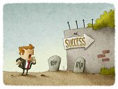 pic of entrepreneur  - illustration of entrepreneur sees risks to success - JPG