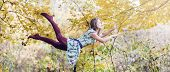 picture of levitation  - Levitation portrait of young woman in the forest - JPG