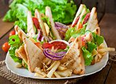 foto of tomato sandwich  - Club sandwich with cheese - JPG