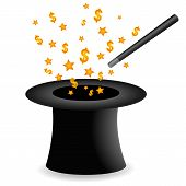 picture of magic-wand  - Vector illustration depicting magic money from a magic hat with stars - JPG