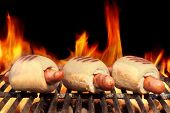 foto of bbq party  - Three Hot Dogs On Flaming BBQ Grill - JPG