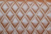 image of quadrangles  - Leather diamond stripes brown color texture background - JPG