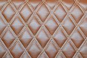 foto of quadrangles  - Leather diamond stripes brown color texture background - JPG