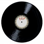 picture of lp  - A typical LP vinyl record with the legend POP and a circle of piano keys all over a white background - JPG