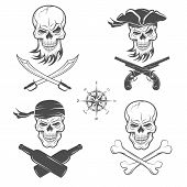 stock photo of skull cross bones  - Emblems of skulls on the pirate theme - JPG