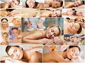 Постер, плакат: beauty healthy lifestyle and relaxation concept collage of many pictures with beautiful young wom