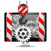 stock photo of crane hook  - Computer Repair Concept with crane hook and gears - JPG